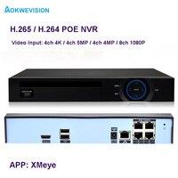 New Arrival XMeye Onvif 4ch 4K 5MP 4MP H 264 H 265 48v POE NVR Network