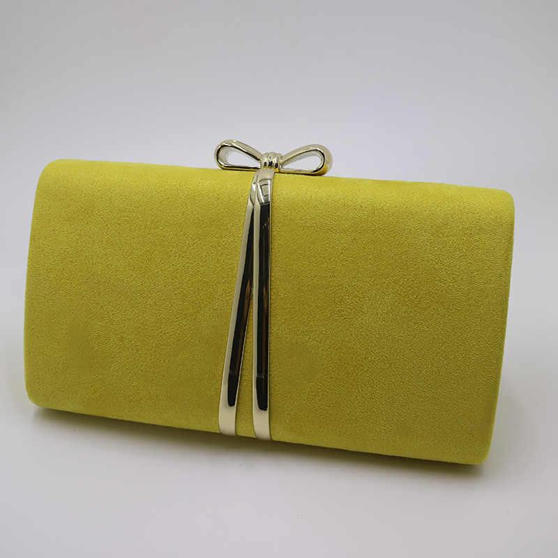 Nuphia Suede Clutch Malam dan Pesta Malam Tas Tangan untuk Wanita Kuning Biru Oranye Merah Ungu