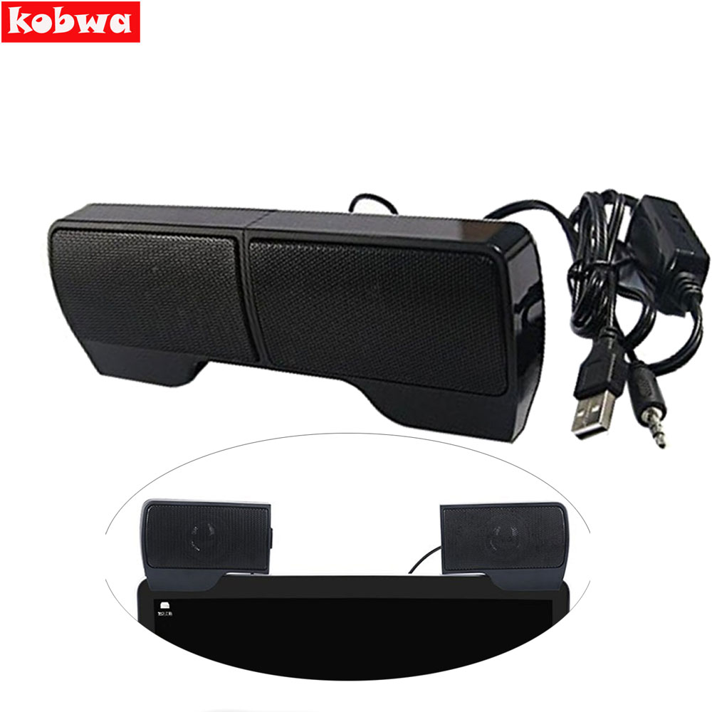 2017 clip on usb stereo speakers line controller hot sale 1 pair mini portable soundbar laptop