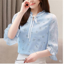 купить S XXL Ladies casual bowknot shirts print floral bow tie frill summer tops for women ruffle blouse office blusas mujer blue shir в интернет-магазине