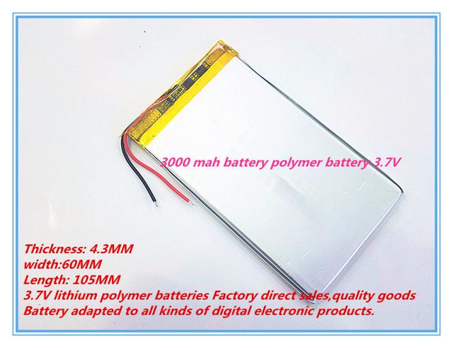 Mejor marca de la batería de La tableta 4360105 polímero 3000 mah batería de polímero de litio 3.7 V