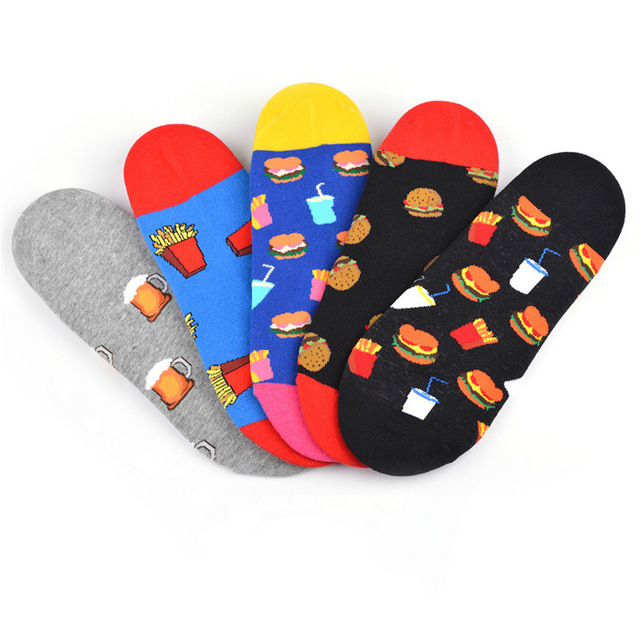 New Arrival Ankle Socks Men Art Abstraction Creative Food Hamburger French Fries Pattern Socks Casual Funny Boat Socks 2