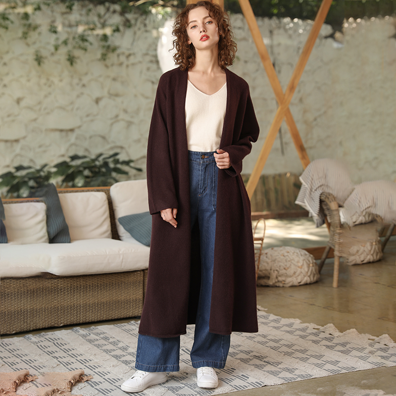 La Femelle Manteau Cachemire 2018 Brown Survêtement Plus Cardigan 100 Tricot Taille D'hiver Manches Ouvert Femmes En Longues beige À camel Nouveau wOaxUX7