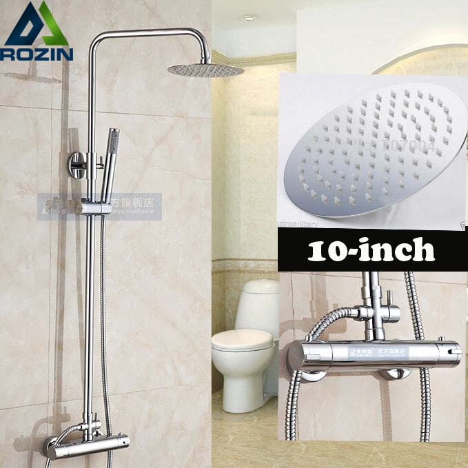 Chrome Finish Rainfall 10 Brass Rainfall Thermostatic Shower Set Faucet with Handheld Shower Wall Mount Ajustable Height polished chrome wall mount temperature control shower faucet set brass thermostatic mixer valve with handshower