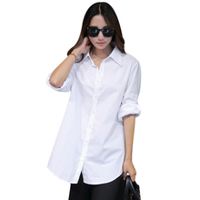 2018 Autumn Spring Women Long White Blouse Shirts Hight Quality Long Sleeve Lady Casual Cotton Slim Loose Tops Plus Size S-4XL
