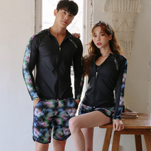 купить Rhyme Lady New Arrivals Rash Guards Long Sleeve Couples Swimwear Surfing zipper Bathing Suits two/three pieces lovers Wetsuits дешево