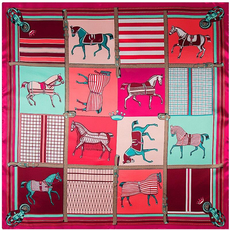 New Design Plaid Carriage Silk Scarf For Ladies Striped Hijab Shawl Brand Scarf Foulard Square Head Scarves Wraps For Women
