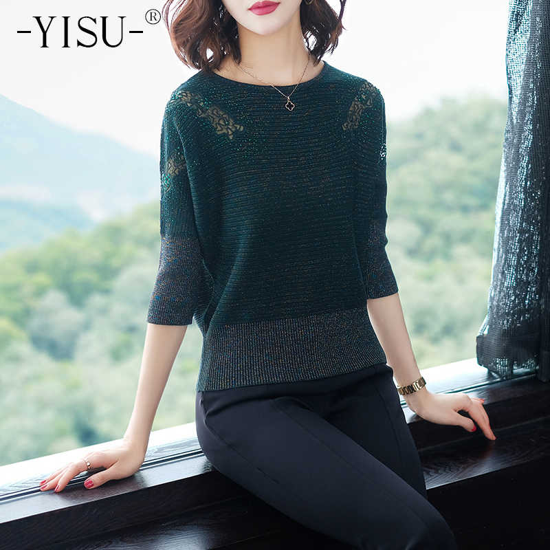 YISU sweaters women 2019 Spring Lady knitted pullover Fashion Half sleeve Loose Lace Hollow sweater loose pullover female
