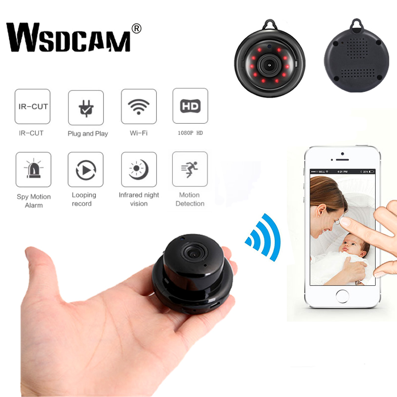 Wsdcam Home Security MINI WIFI 1080P IP Camera Wireless Small CCTV Infrared Night Vision Motion Detection SD Card Slot Audio APP Сковорода