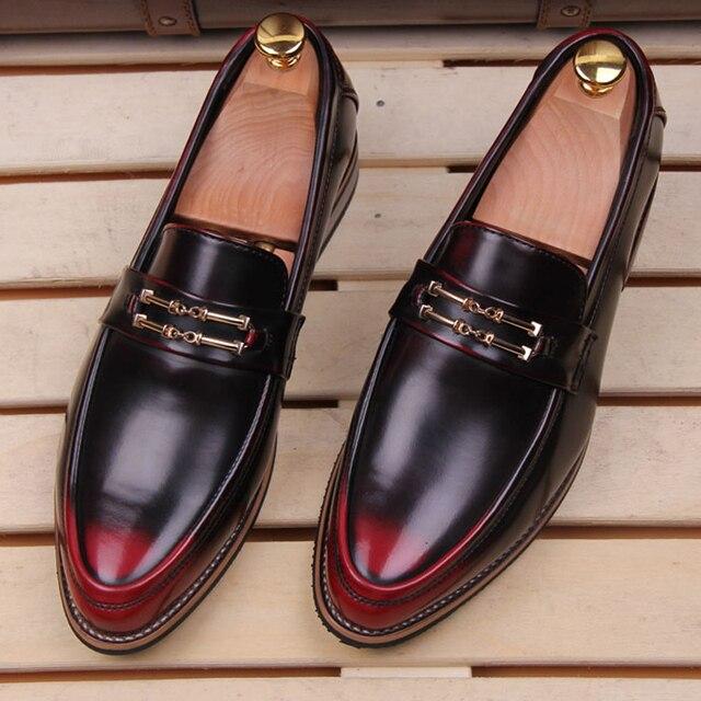 2016 Новые Повседневная Мужская Обувь Дышащие Старинные Натуральная Кожа Острым Носом Обувь Для Мужчин Итальянский Роскошный Дизайн Обувь D75