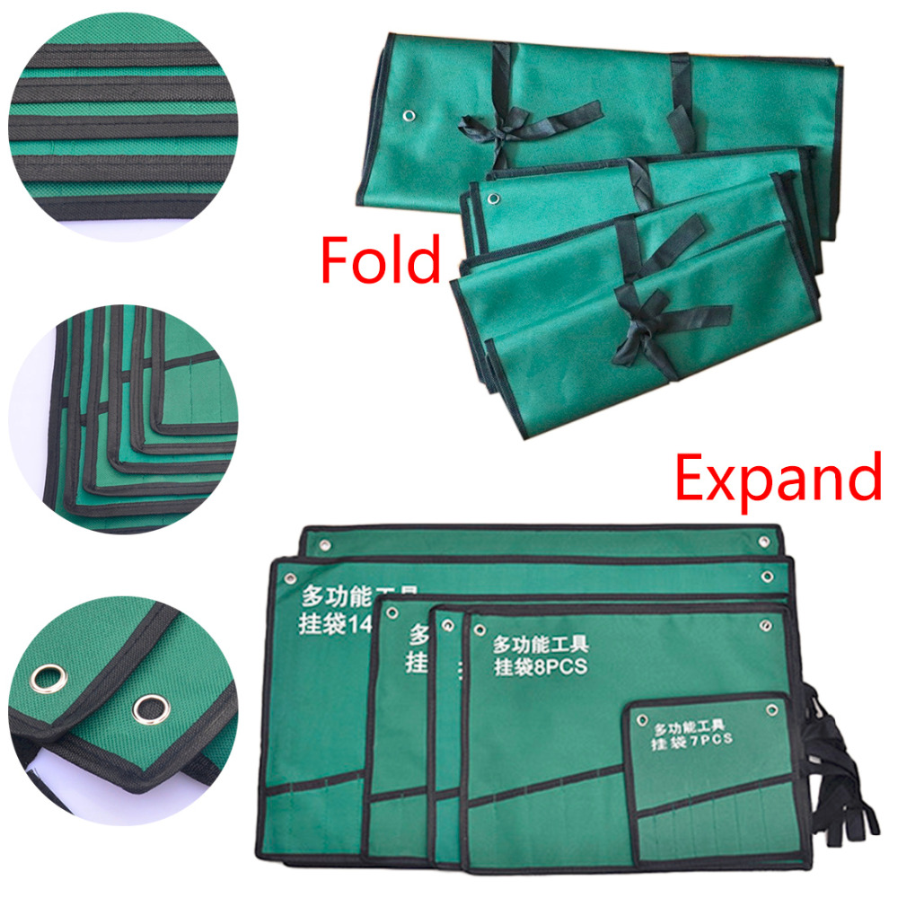 Double Opening Offset Ring Spanner Kit Case Tool Bag Spanner Wrench Roll Up Storage Organizer Bag Pouch 8/10/14/20pc Pockets