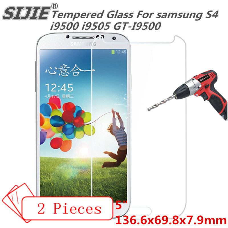 2PCS Tempered Glass For samsung S4 i9500 i9505 GT I9500 cover GALAXY Screen protective 5 inch smartphone toughened case 9H on in Phone Screen Protectors from Cellphones Telecommunications