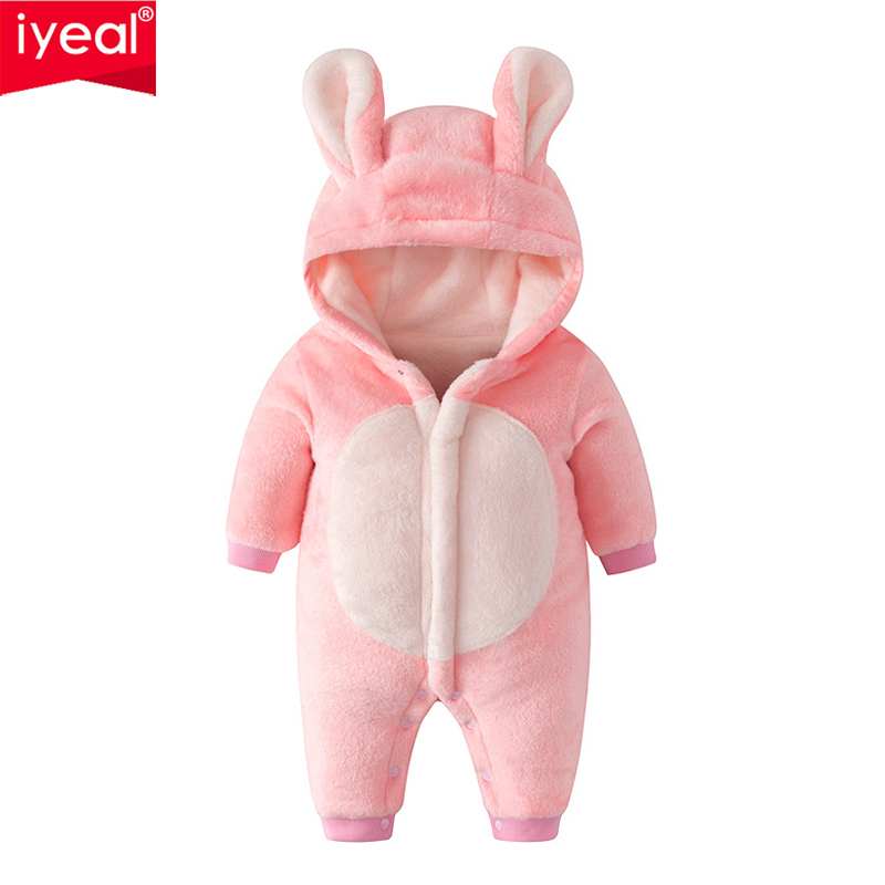 IYEAL Baby Rompers Warm Soft Flannel Winter Baby Clothes Cartoon Animal 3D Ears Children Girls Jumpsuit Newborn Infant Romper free shipping winter newborn infant baby clothes baby boys girls thick warm cartoon animal hoodie rompers jumpsuit outfit yl page 4