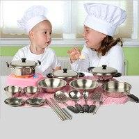 1 компл. 20 шт. дети забавные KitchenToy патрубки из нержавеющей стали кастрюли кухонная посуда серебро Миниатюрная игрушка ролевые игры подарок д