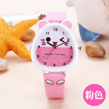 6 Candy Colors Cute Animal Watch Kids Boy Girl Quartz Watch Leather Children Cartoon Wristwatch Casual Waterproof Relogio Gifts