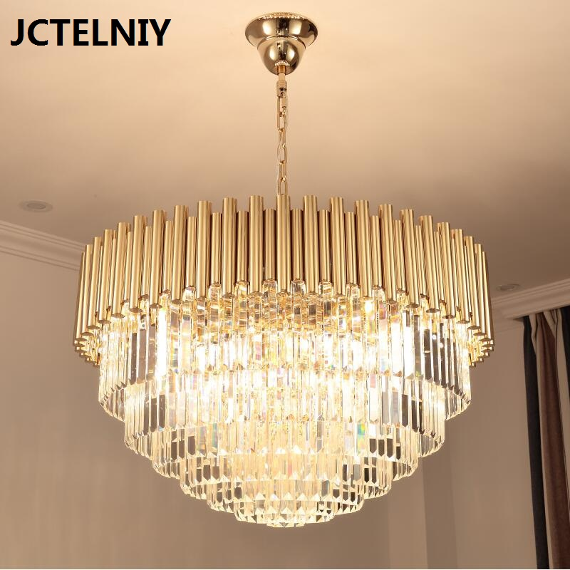 New crystal chandelier gold luxury living room k9 crystal lamp round LED light k9 puppy gold