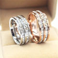 Silver/Rose Gold Titanium Steel Double Row CZ Rings for Women/Men Stainless Steel Crystal Zircon Ring Wedding Band Jewelry R063