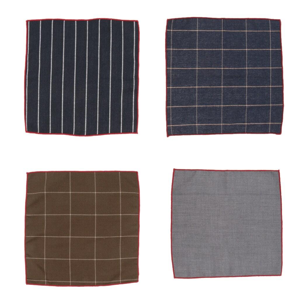 1 Piece Cotton Plaid Men's Handkerchief Square Decorative Suits Grid Hanky 24x24cm