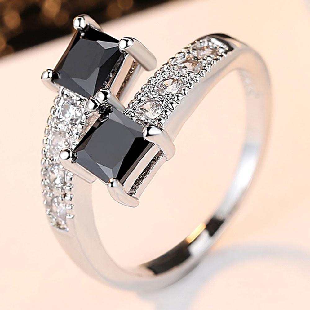 Anneaux d'étoiles étoilées de luxe en or blanc véritable 10KGF pour femmes bijoux de mode bague avec véritable CZ noir