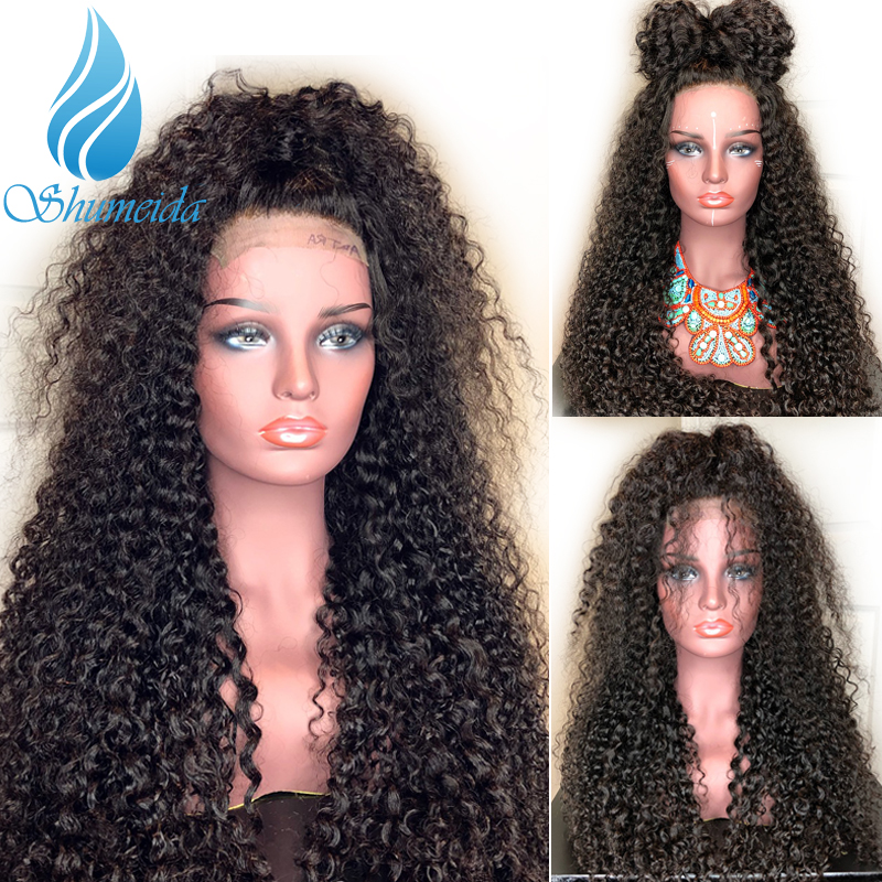 SHUMEIDA Brazilian Kinky Curly Lace Front Wigs for Black Women Remy Human Hair Glueless Lace Wigs