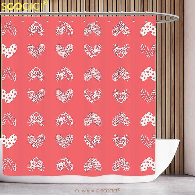 Fun Shower Curtain Coral Decor Distressed Heart Shaped Cute Motifs Living Icons Married Wedding Love