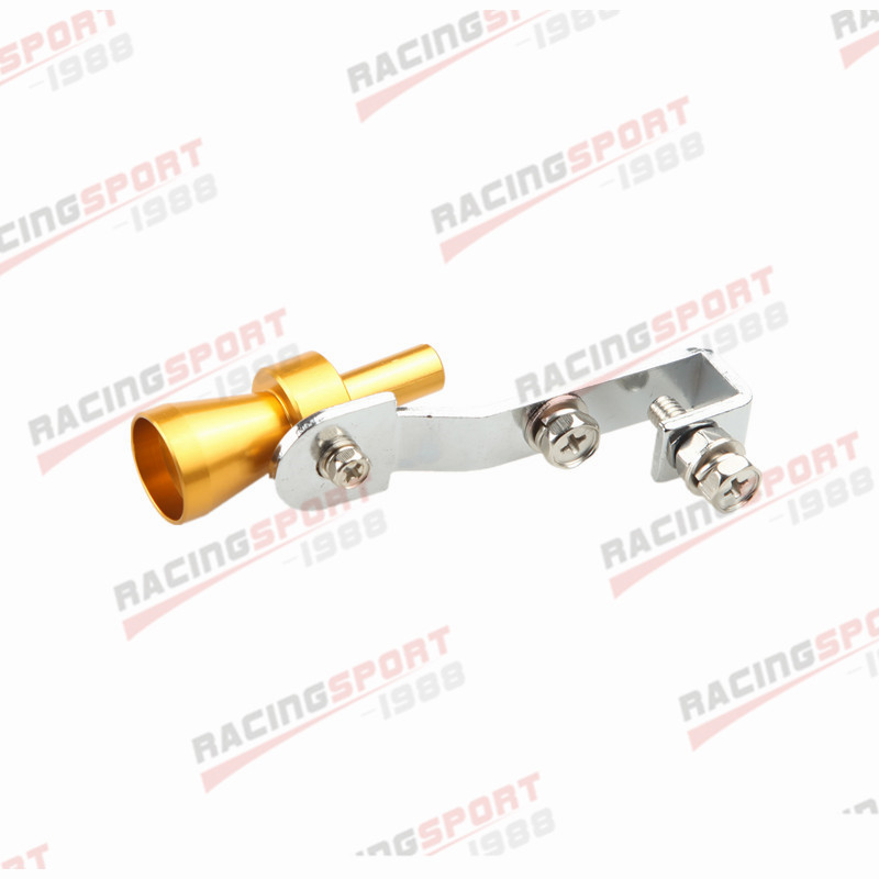 2PC Universal Turbo Sound Exhaust Whistle/Fake Blow Off BOV Simulator Golden S B