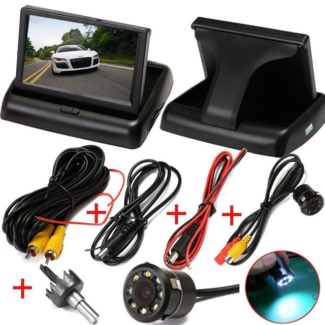Auto Parking Assistance LED Night Vision Car Rear View Camera With 4.3 inch Color LCD Car Video Rear View Foldable Monitor