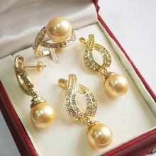 Women's Wedding Hot! perfect match new jewelry  + 12mm golden shell pearl pendant, earring, , ring set real silver-jewelry