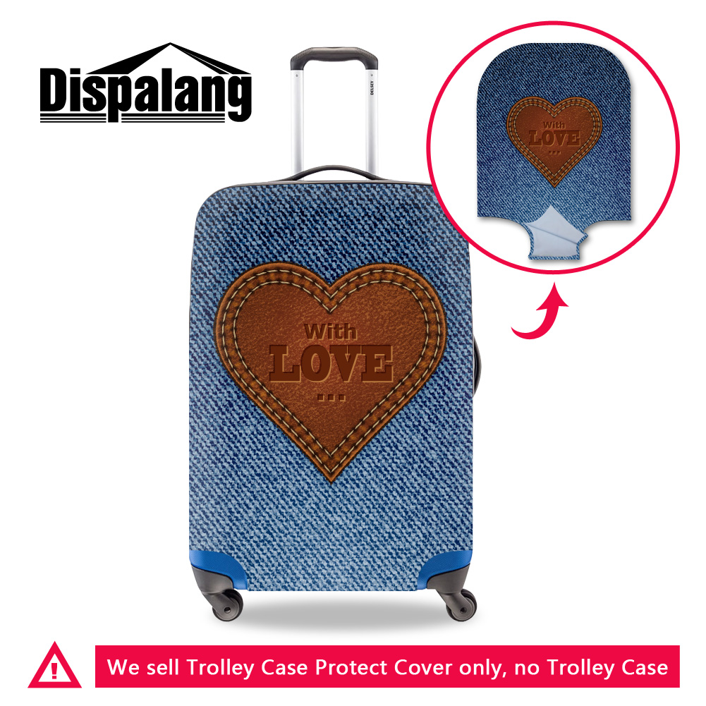 dispalang brand travel luggage protective covers cute love design elastic suitcase cover for 18 30