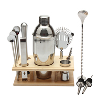 14pcs/Set Stainless Steel Cocktail Shaker Mixer Set Bar Bartender Tool Kit With Wooden Base