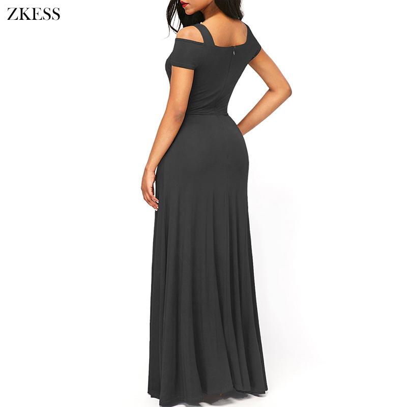 ZKESS Women New Cold Shoulder Front Slit Flare Maxi Dress Sexy V ... 3ea65224c098