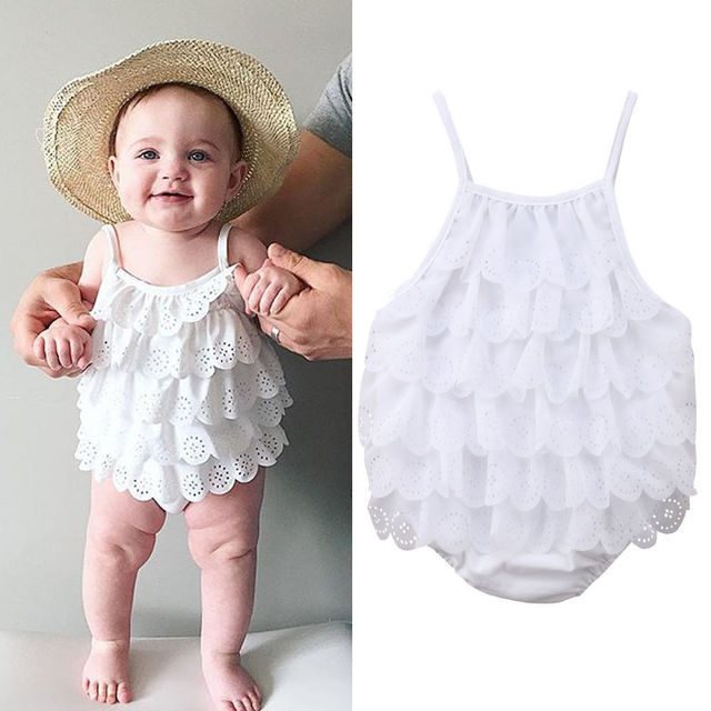 c4fb4833d4e4 Summer Newborn Baby Girl Clothes White Cotton Lace Romper Outfits-in ...