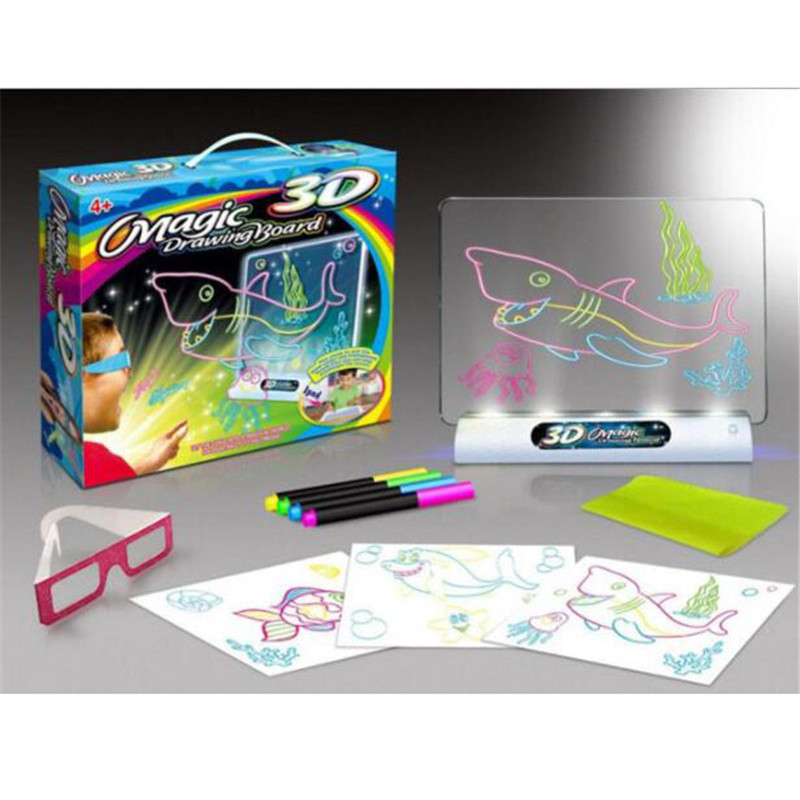 Image 5 - 3D Light Up Drawing Board Dinosaur Toys LCD early Educational Painting Erasable Doodle Magic Glow Pad with 3D Glasses Kids GiftDrawing Toys   -