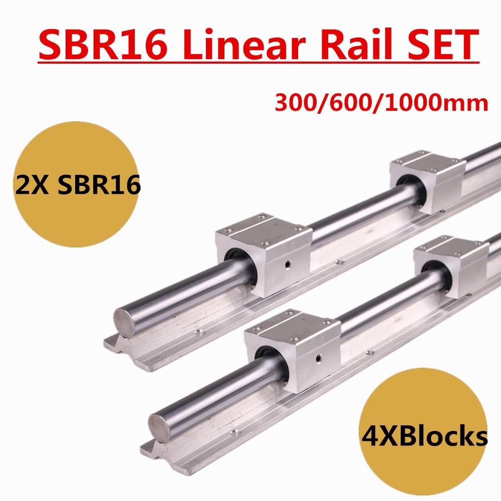SBR16 16mm Linear Slide Rail Set 300 600 1000mm Fully Support Linear Guide Rails Slide Shaft Rod 4Pcs SBR16UU Bearing Block цена