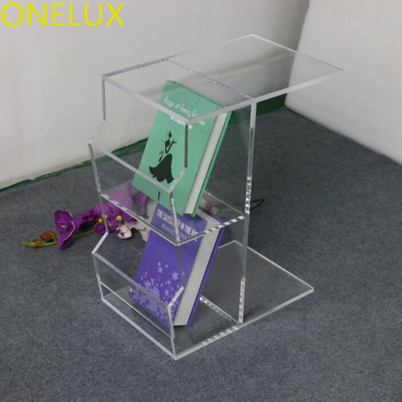 Acrylic C Shaped Occasional Side Sofa Tea Table With Magazine Pockets,Waterfall Lucite nightstands with book rack one lux waterfall acrylic lucite lounge sofa table plexiglass waiting room magazine side coffee corner tables