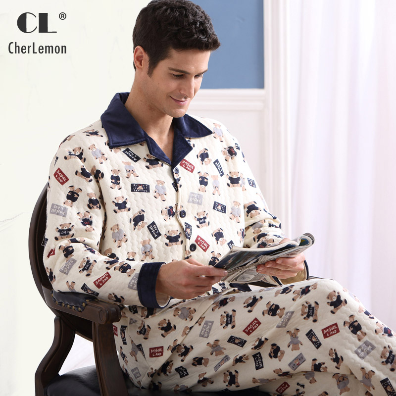 CherLemon Men's Thick Cotton Lounge Sleep Set Winter Male Button Down Notched Collar Warm Pajamas Character Printed Sleepwear