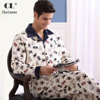 CherLemon Men's Thick Cotton Lounge Sleep Set Winter Male Button Down Notched Collar Warm Pajamas Character Printed Sleepwear