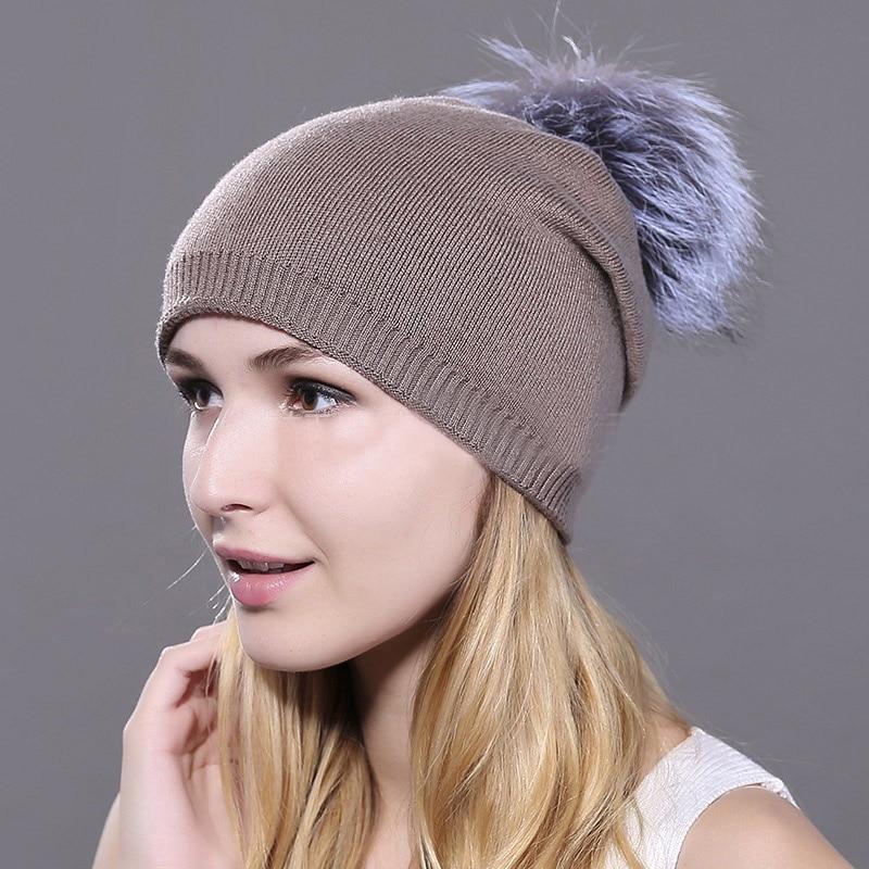 HEE GRAND/женская шапка, зимние вязаные шапки унисекс из шерсти енота, шапки с перьями для мужчин, меховая шапка куполообразная, Прямая поставка PMT089 - Цвет: Color-6
