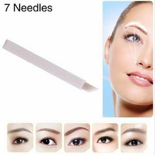 100 PCS 7 Needle Eyebrow Tattoo Blades For 3D Embroidery Manual Microblading Pen Permanent Makeup