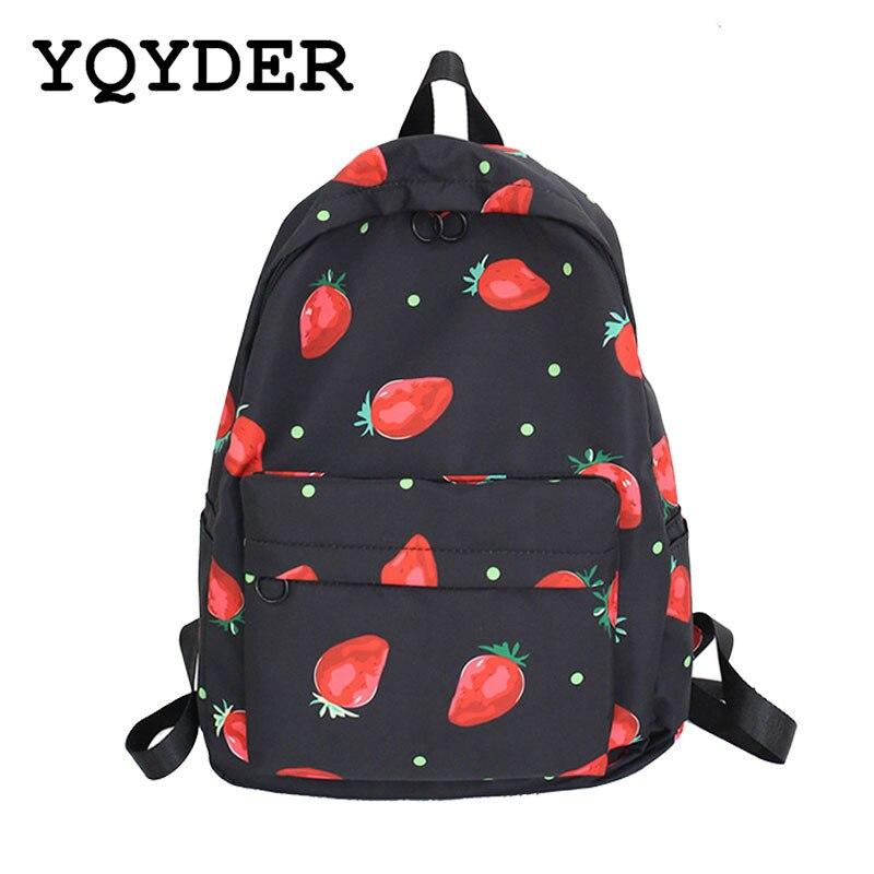 Cute Waterproof Women Large Capacity Backpack Pink Strawberry Pattern Printing School Backbag Preppy Style Female Travel Bags