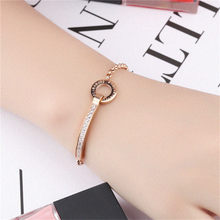 Classic Letter Bracelet Stainless Steel Adjustable Arm Cuff Round Bangle Rose Stainless Cubic Zirconia Bracelet Metal Femme(China)