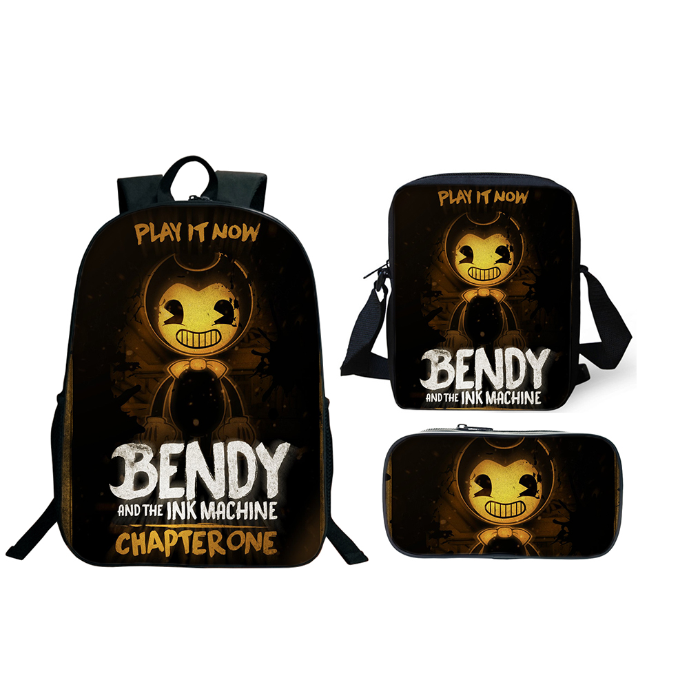 3Pcs/Set Bendy And The Ink Machine School Bags For Boy Girls Cartoon Game Book Bags Sets Anime Backpacks School Gifts Birthday3Pcs/Set Bendy And The Ink Machine School Bags For Boy Girls Cartoon Game Book Bags Sets Anime Backpacks School Gifts Birthday