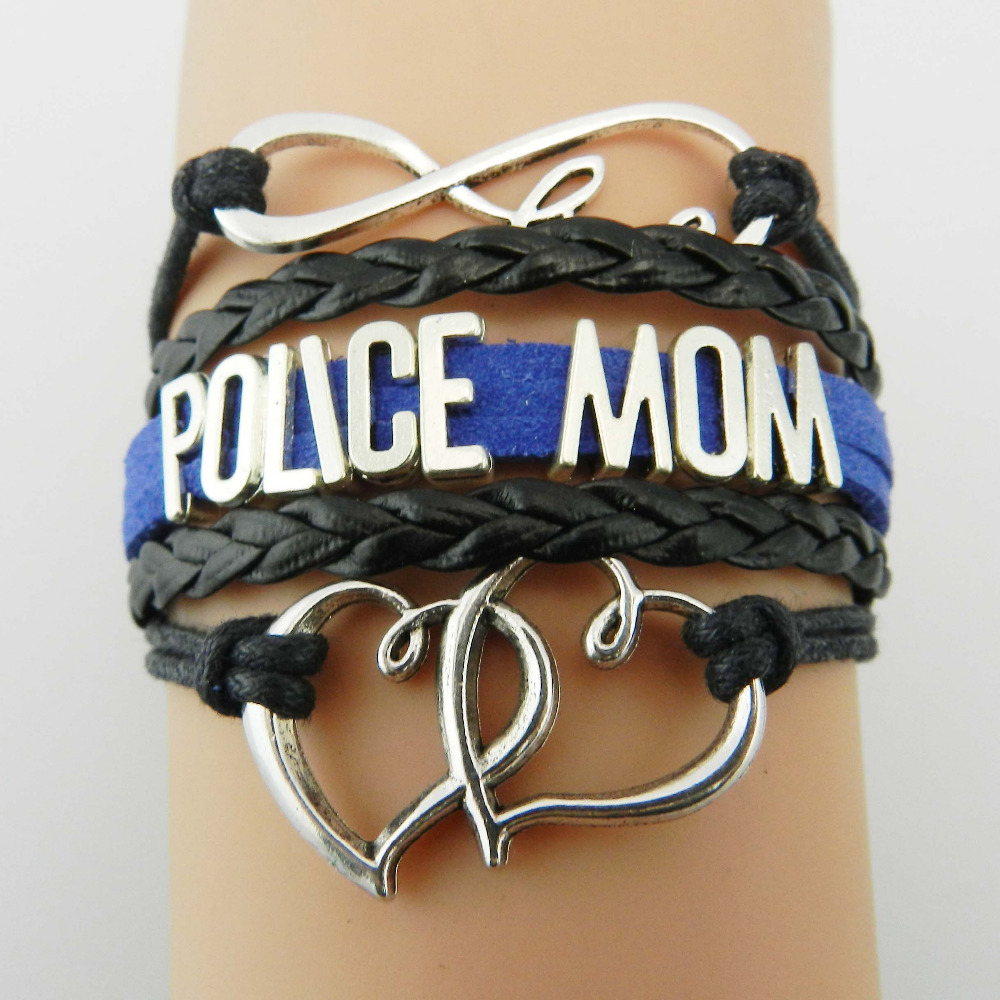 Drop Shipping Infinity Love Police Mom Bracelet Double Heart Charm Handmade Leather Wrap Career Jewelry Friendship Gift