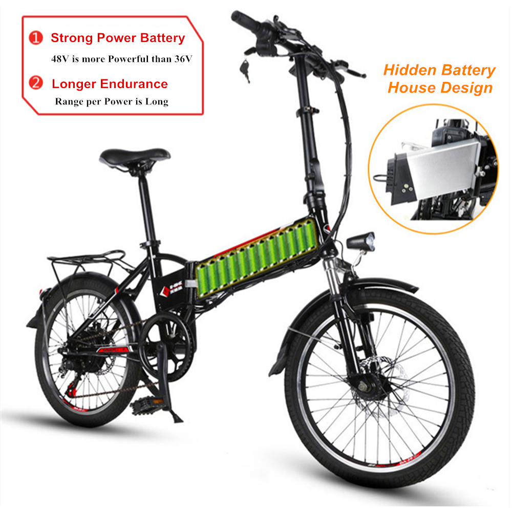 20 6 Speed 48V/10AH 250W Lightweight Folding Electric Bicycle Electric Bike with USB Charging Interface Lithium Battery Ebike