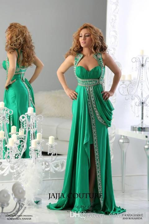 2019 nouvelles robes de soirée Sexy vert perlé dos nu voir à travers la piste pour les femmes découpées grande taille robes de bal porter