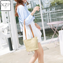 XZP Women Handbag Summer Beach Bag Rattan Woven Handmade Knitted Straw Large Capacity Totes Leather Women Shoulder Bag Bohemia new fashion large capacity totes handbag shoulder bags for women square straw bag summer rattan bag handmade woven beach bohemia