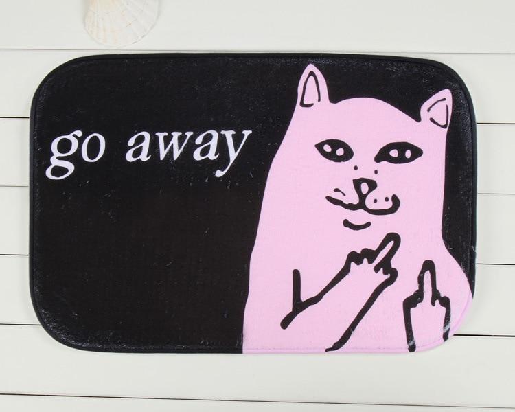 Plush Fabric Middle Finger Go Away Grumpy Cat Door mat Doormat Home Room Decor Carpet Vintage Rug Drop Shipping