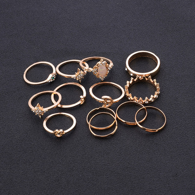 12Pcs/Set Vintage Star Opal Crystal Finger Ring Set Bohemian Gold Moon Crown Knuckle Midi Rings Women Jewelry Accessories 3