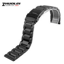 Solid stainless steel watch strap for AR double insurance buckle men 18/20/22/24mm black silver golden rose-golden