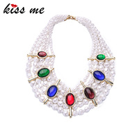 Summer Hyperbole Colorful Artificial Gems Simulated Pearls Necklace Luxury Jewelry Multilayer Beads Chain Chunky Necklace
